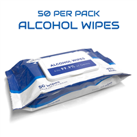 PPE Alcohol Wipes in Packs of 50 (FDA Certified)
